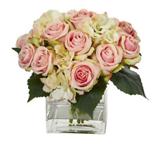 Rose And Hydrangea Bouquet Artificial Arrangement In Vase Nearly Natural Decor
