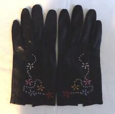 Vintage Soft Black Leather Dress Gloves With Hand Embroidered Flowers Size 7