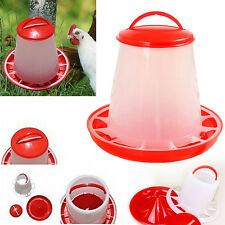 1.5kg Auto Red Plastic Food Feeder Chicken Chick Hen Poultry with Lid & Handle