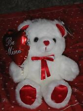 "Valentine Love Plush Bear, White w/ Red heart nose, Soft Expressions 8-1/2""H"