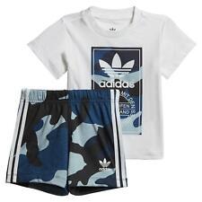Adidas Original Jungen Kinder Tarnfarbe T-Shirt Satz Weiß/Blau Kleidung Babys