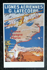MAP & Air Transport Postcard: FRANCE - ESPAGNE - MAROC - French Airline Poster
