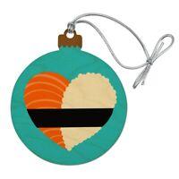 Japanese Salmon Sushi and Rice Heart Wood Christmas Tree Holiday Ornament