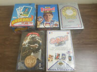 Lot Of 5 Unopened Baseball Card Boxes With Unopened Wax packs