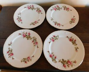 """4 Dinner Plates  10-1/4""""- ROYAL ROSE - Grant Crest Fine China JAPAN (More Avail)"""