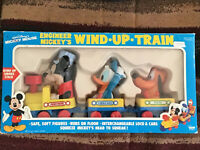 Vintage ILLCO Walt Disney's Mickey Mouse Engineer Wind Up Train Donald & Pluto