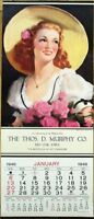 Art Deco Woman in Hat 1946 Poster / Advertising Calendar - 'Lovely As The Rose'