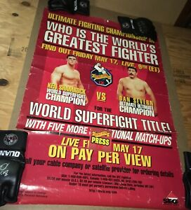 UFC 9 Poster With Official Press Pass SEG Era Rare Collectable - Pride Fc MMA
