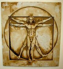 Clearance Vintage Leonardo da Vinci Vitruvian Man Wall Plaque Plaster Antique