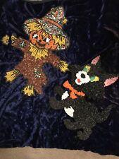 Vintage Plastic Popcorn Decoration Halloween Cat & Scarecrow