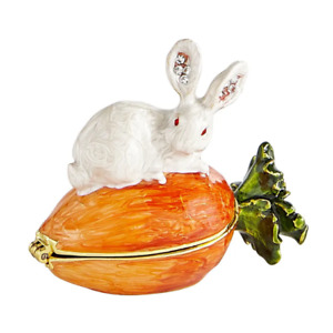 PIER1 EASTER CLOISONNE CRYSTAL EARS RABBIT ON CARROT BNIB