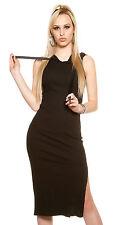 Midi jumperdress sexy slit hooded Dress black Stretch sizes 8 10 12 14
