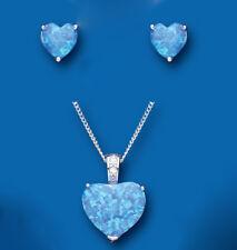 Blu opale ciondolo e parure orecchini argento sterling massiccio design a cuore