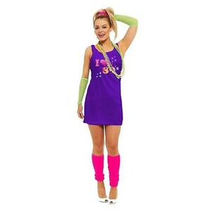 Womens I Love The 80s Classic Printed Fancy Dress Hen Party Pop Star Retro 7857