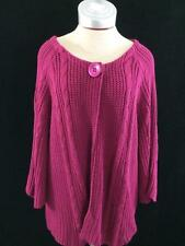 Avenue cardigan womens size 22 24 dark pink cable knit sweater 3/4 sleeve
