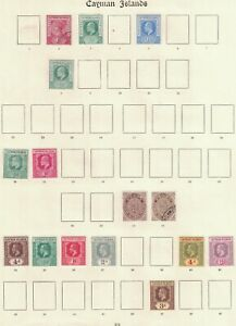 CAYMAN ISLANDS, MINT & USED ON TWO OLD IMPERIAL PAGES.