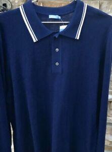J. McLaughlin Long Sleeved Polo Sweater NWT Sz L Royal Blue