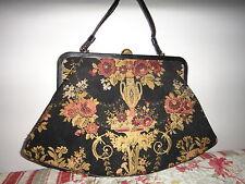 Vintage1950s CROWN LEWIS carpet tapestry black purse handbag large