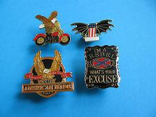 4, Motorcycle pin badges, Enamel, Unused. American Theme.