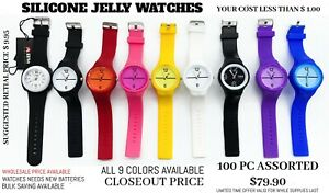 100 PCS Silicone Jelly Watches All mix Color Limited Time Offer Read Discription