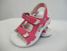 COLUMBIA SPORTSWEAR Girls Pink & White Hook & Loop Strap Sandals Size 7