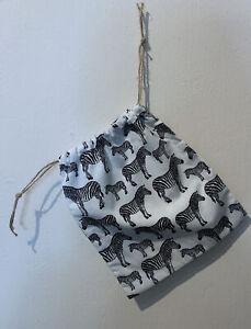Zebra Pattern Handmade Drawstring Christmas Gift Bag