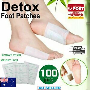 100 PCS Detox Foot Patch Pads Natural Plant Toxin Removal Sticky Adhesives AU