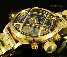 52MM Invicta Russian Diver NAUTILUS Quartz Chronograph Blue Dial Gold Tone Watch
