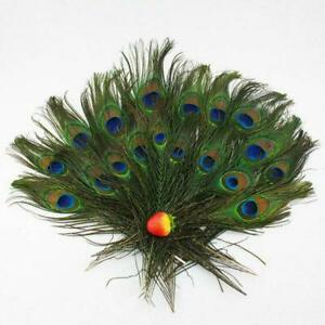 100X Eyes Feathers 8-12 Inch 23-30cm Size Bouquet DIY Real Natural Peacock Tail