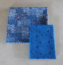 1+ Yards (2 pieces) Mixed Blue Floral White Fabric 100% Cotton Lot Flowers