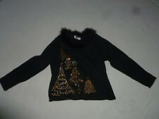 JACK BE QUICK CHRISTMAS SWEATER GOLD BEAD SEQUIN TREES SIZE L BLACK FRINGE NECK