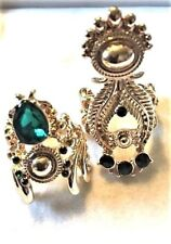 Mark Good Luck Ring Set Size 6.5 by Avon Goldtone Green Crystals Two Pair Lot