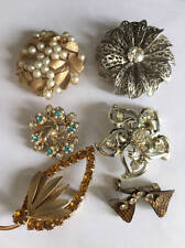 Vintage 1950's Set 6 Pins Brooches Leaf Bow Pearls Unmarked