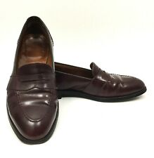 0f216b6b3ac Alden Mens Burgundy Full Strap Penny Loafers Leather Dress Shoes Sz 10.5 C