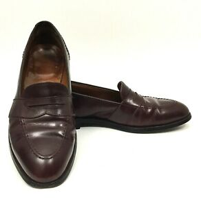 Alden Mens Burgundy Full Strap Penny Loafers Leather Dress Shoes Sz 10.5 C