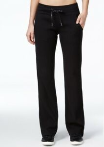 CALVIN KLEIN waffle knit thermal wide leg women's sweatpants - Black - SMALL
