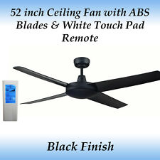 Genesis 52 inch Black Ceiling Fan with ABS Blades and White Touch Pad Remote