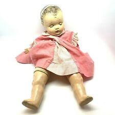 Vintage Baby Doll Creepy Antique Girl Composition Doll Cloth Body Damaged