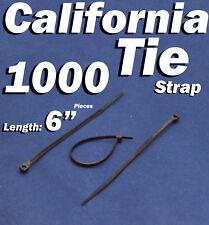 """1000 X pcs Black 6"""" Tie Cord Strap 150mm Network Nylon Plastic Cable Wire Zip"""