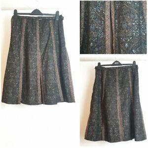 Sand Copenhagen Black Gold Thread Wool Blend Pleated Formal Skirt size10 EUR 38