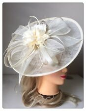 Classic Sinamay Fascinators Vintage White Fascinator Races Wedding Party Feather