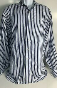 Tommy Bahama Men's  XL Blue and White Striped Long Sleeve Shirt