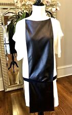 NWT Vionnet Draped Lambskin Crepe Short Dress Ivory/Black $1345 - S