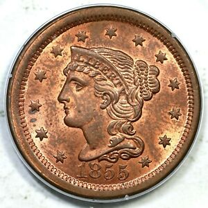 1855 N-4 PCGS MS 64 RB CAC Braided Hair Large Cent Coin 1c