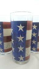 Warren Kimble Sakura Colonial Flag Highball Glasses Set 4 16oz Patriotic Stars