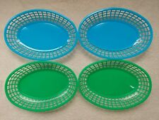 New BBQ Cookout Plate Baskets Green Blue Set Of 4 Grill Accessory