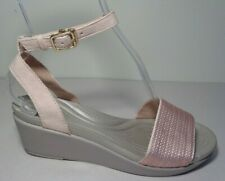 Crocs Size 8 LEIGHANN Rose Sequin Wedge Ankle Strap Sandals New Womens Shoes