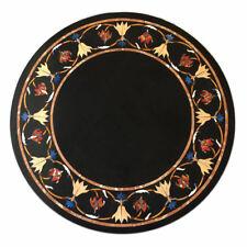 "24"" Decorative Semi Precious Stones Inlay Handmade Black Marble Table Top"