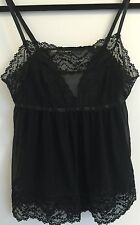 Victoria's Secret Black Lace Trim Low Back Babydoll Lingerie Small