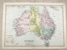 1891 Antique Map of Australia Original Victorian 19th Century Old Copy